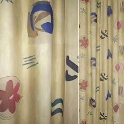 ткань порт.деваре бежевая с син,красн,зелен.абстр.цвет