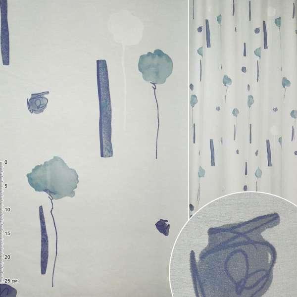 ткань порт.Деваре белая голуб выс.цвет и син прям ш140