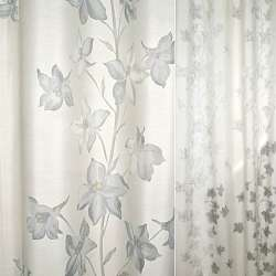 Деворе портьєрне з високими сірими квітами ш.140