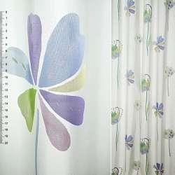 Деворе портьєрне біле з великими бузково-блакитними квітами ш.140