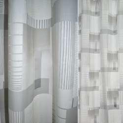 Деворе портьєрне біле з сірими прямокутниками і смужками ш.140