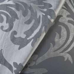 Атлас жаккард 2-сторонний серебристо-серый в листья, ш.140