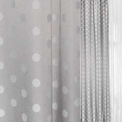 Жаккард серый в светлые и темные кружочки ш.140