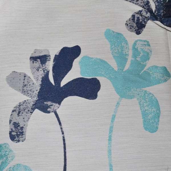 Жаккард молочный с бирюзово-синими цветами ш.280