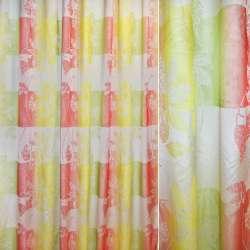 Шовк жакард 2-шаровий для штор квадрати квіти жовто-червоно-зелений, ш.300
