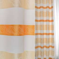 Жаккард атласний в молочні, персикові, помаранчеві смуги і розчеркі ш.140