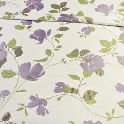 Атлас жакардовий білий в гілочки з фіолетовими квітами, ш.150