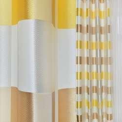 Жаккард атласний в молочну, жовту, бежеву клітку ш.145