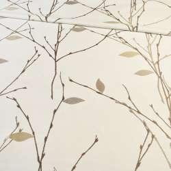 Атлас жакардовий білий в коричневі гілочки з бежевими листям, ш.154