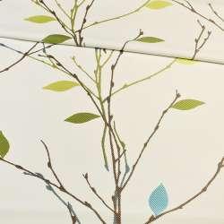 Атлас жакардовий білий в гілочки з зелено-блакитними листям, ш.153