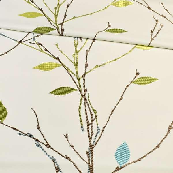 Атлас жаккардовый белый в веточки с зелено-голубыми листьями, ш.153