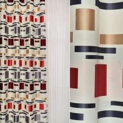 Жаккард атласний білий в бежеві, червоні, чорні чотирикутники ш.144