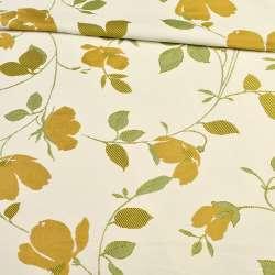 Атлас жакардовий білий в гілочки з золотими квітами, ш.150