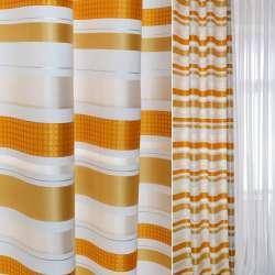 Жаккард білий в помаранчеві, сірі, золоті смуги ш.145