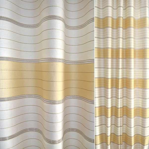 Жаккард в белые и желтые полосы ш.135