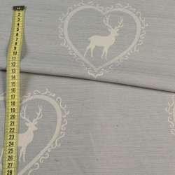Жаккард портьєрний сірий світлий в молочні серця з оленями, ш.140