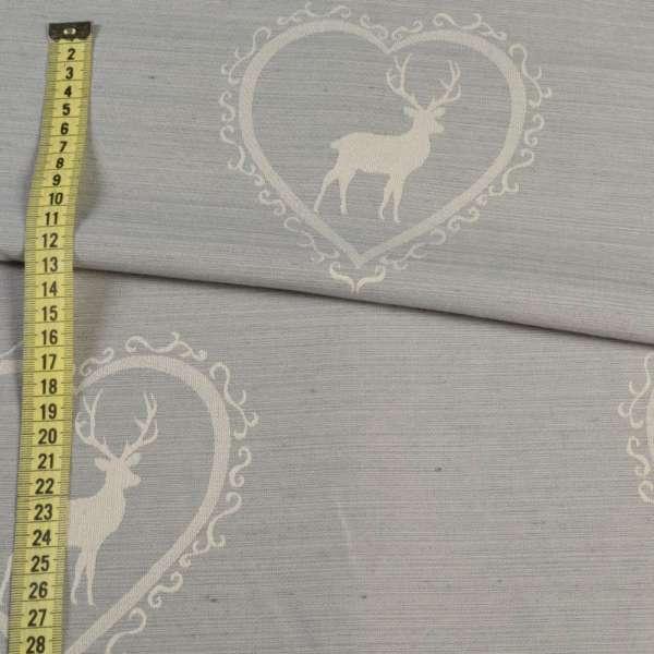 Ткань портьерная серая светлая в молочные сердца с оленями, ш.140