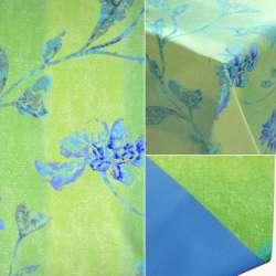 Коттон на пвх основе салатовый с сине-голубыми цветами ш.140
