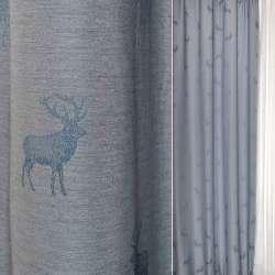 Жаккард портьерный серебристо-синий с оленями Германия ш.140