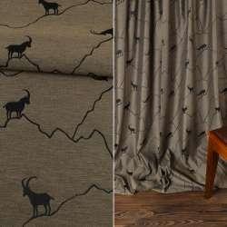 Жаккард интерьерный козлы горные бежево-черный, ш.142