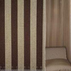Жаккард рельєфний коричнево-бежеві смужки ш.145
