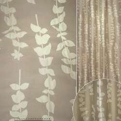 Жаккард песочный с бежевыми листьями ш.142