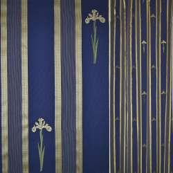 Жаккард синій в жовті смужки і нарциси ш.145