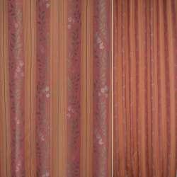 Жаккард в терракотовые,красные полосы с цветами ш.138