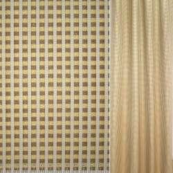 Жаккард в жовто-коричневу клітку і молочні смуги ш.142