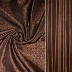 Креп льон коричневий з вогненно-рудим вкрапленнями ш.140