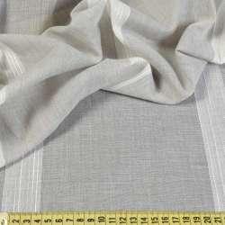 Льон портьєрний сірий в молочні смужки, обважнення, ш.300