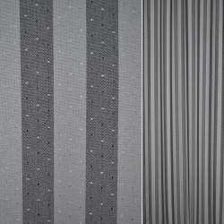 Коттон серые черные полоски с мелкими точками ш.140
