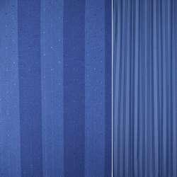 Коттон в синие и голубые полоски с мелкими точками ш.140