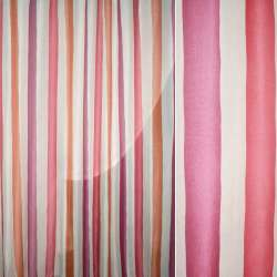 Муслін кремовий в рожеву, гірчичну смугу ш.280