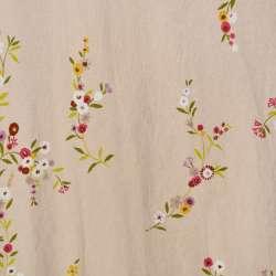 Портьера молочно-розовая с цветами (лен) ш.280