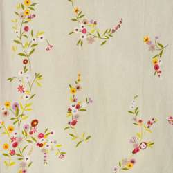 Лен портьерный бежевый светлый с цветами ш.280