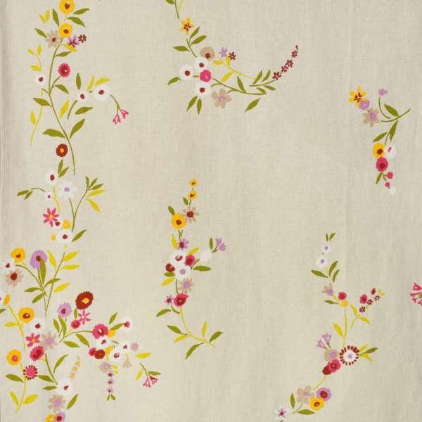 Портьера светло-бежевая с цветами (лен) ш.280