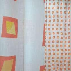 Батист портьерный белый с желтыми ромбами в красн.квад.ш140