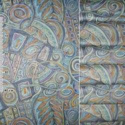 Сатин в бірюзово смне гірчичний мальований візерунок ш.140