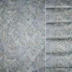 Сатин портьєрний сірий з оливковою абстракцією, ш.140