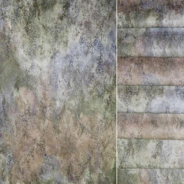 Сатин серый с розовой и серой абстракцией, ш.140