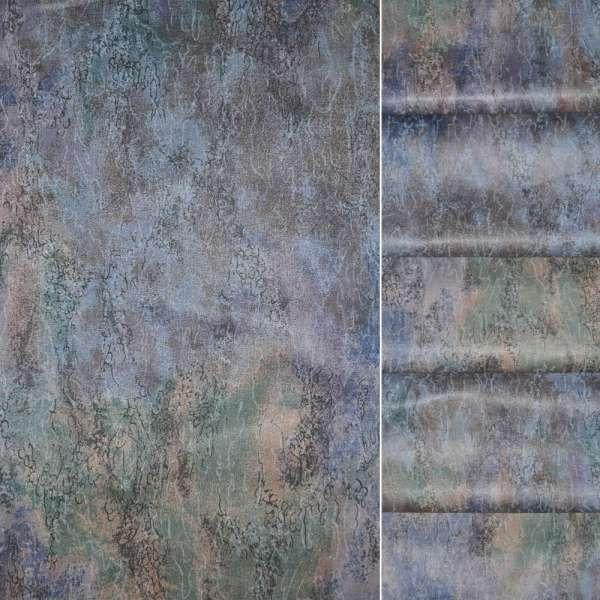 Сатин в сине сиреневые разводыш.140