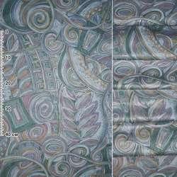 Сатин портьєрний зелено - сірий з рожево - жовтої абстракцією, ш.140
