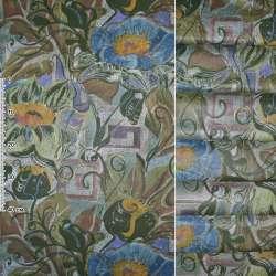 Сатин портьєрний зелений з блакитними, жовтими, зеленими квітами ш.140