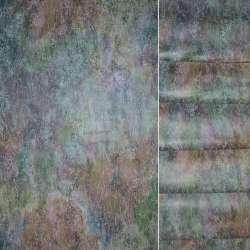 Сатин портьєрний в зелено-фіолетово помаранчеву абстракцію ш.145