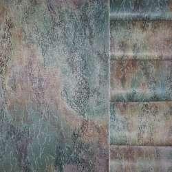 Сатин портьєрний в бузково оранжево зелену абстракцію ш.140