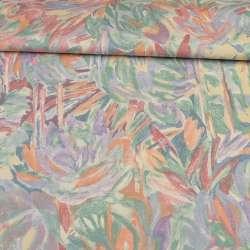 Сатин портьєрний рожево - бузковий з абстрактними квітами ш.140