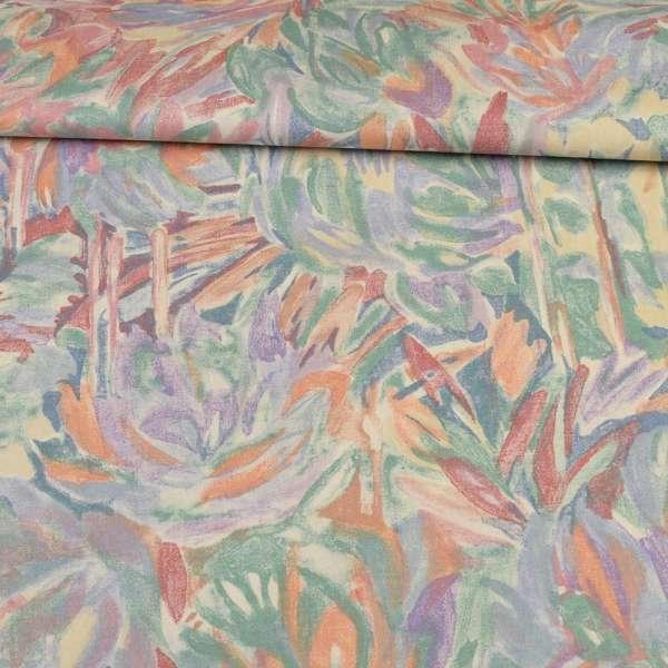 Сатин портьерный розово - сиреневый с абстрактными цветами ш.140