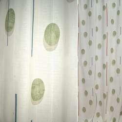 Поликоттон для штор овали зелені, смужки коричневі, сині на молочному тлі, ш.140