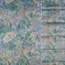 Сатин для штор штамп сріблястий квіти квадрати на бірюзовому тлі, ш.140